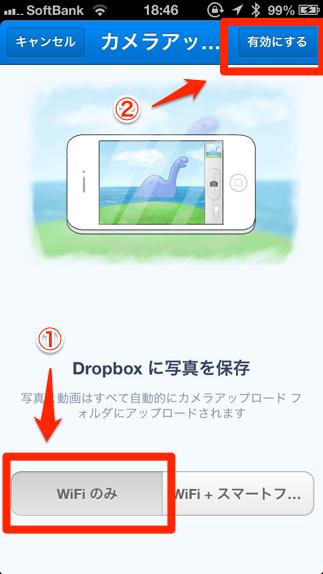 DropBox設定カメラアップデートの有効化