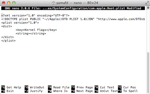 設定ファイル編集画面の起動直後