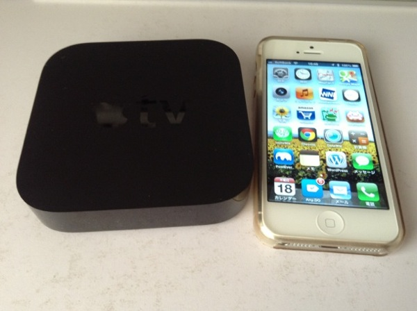 AppleTVとiPhone大きさ比較