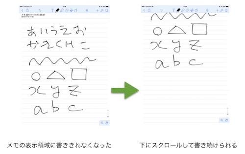 Notabilityの画面スクロール